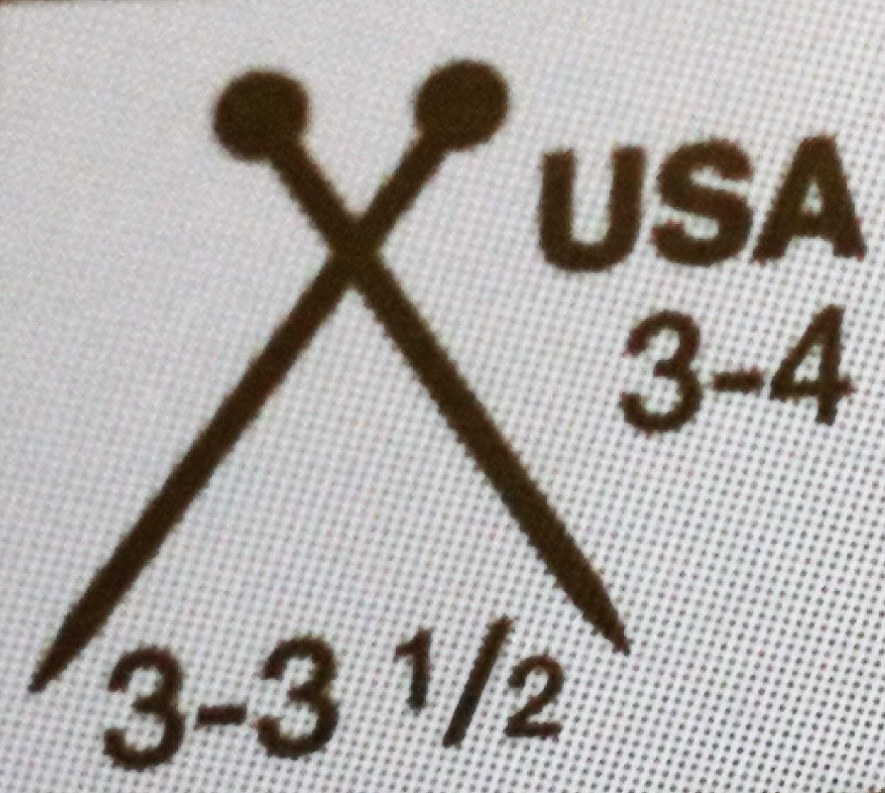tamaño de aguja de dos puntos o de tricot en una etiqueta