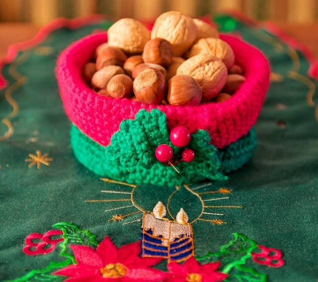 cesta de ganchillo Navidad