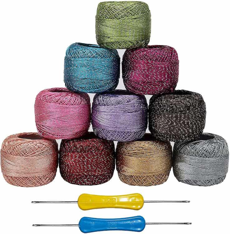 hilos brillantes para crochet