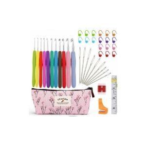 kit de crochet en oferta, estuche con agujas de ganchillo ergonómicas, agujas de ganchillo para principiantes, mejores agujas de crochet